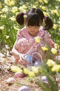 Girl collecting Easter eggs from a field